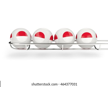 Flag of indonesia on lottery balls. 3D illustration