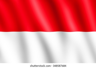Flag of Indonesia waving in the wind giving an undulating texture of folds in the fabric. The Image is in the official ratio of the flag - 2:3.