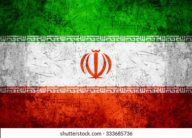 flag of Iran or Iranian banner on rough pattern metal background