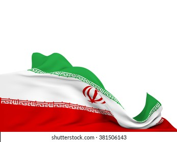 Flag of Iran moved by the wind, leaving a  white background