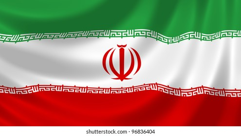 Flag of Iran waving in the wind detail