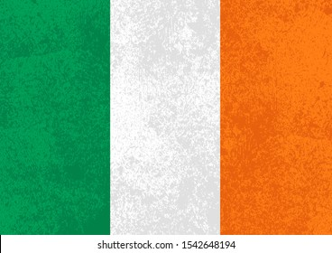 Flag of Ireland with old grunge vintage texture