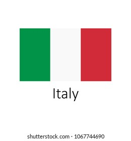 Flag of Italy with name illustration. Official colors and proportion correctly flag of country Italy. Premium quality graphic design of national Italy flag on white background