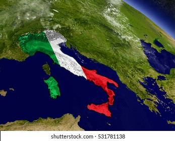 Flag of Italy on planet surface from space. 3D illustration with highly detailed realistic planet surface and clouds in the atmosphere. Elements of this image furnished by NASA.