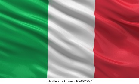 Flag of Italy waving in the wind with highly detailed fabric texture