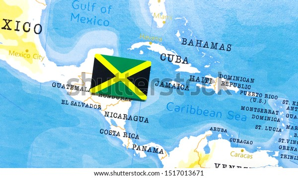 Flag Jamaica World Map Stock Illustration 1517013671