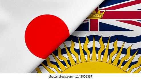 Flag of Japan and British Columbia