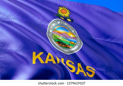 Flag of Kansas. 3D Waving flag design. Emblem of Kansas and Topeka, 3D rendering. National colors of Kansas 3D Waving USA state flags background concept. 3D ribbon, HD wallpaper