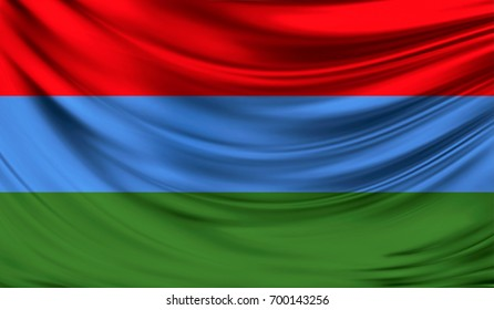 Flag of Karelia, 3D illustration.