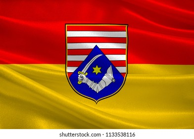 Flag of Karlovac County is a county in central Croatia, with the administrative center in Karlovac. 3d illustration