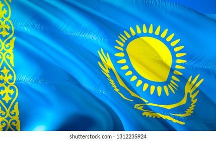 Flag of Kazakhstan. 3D Waving flag design. The national symbol of Kazakhstan, 3D rendering. National colors of Kazakhstan 3D Waving sign background design.CIS 3D ribbon, wallpaper, pattern background