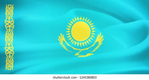 flag of Kazakhstan waving in the wind. Silk texture pattern