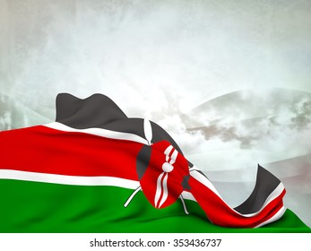 Flag of Kenya moved by the wind, leaving a useful space over abstract waves