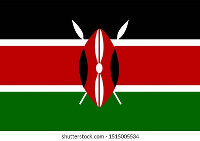 Flag of Kenya in  red black white green color