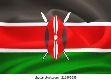 flag of Kenya waving in the wind. Silk texture pattern