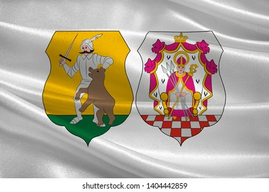 Flag of Komarom-Esztergom is an administrative Hungarian county in Central Transdanubia Region. 3d illustration