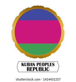 Flag of Kuban Peoples Republic with name icon, Golden sticker with flag of the Kuban Peoples Republic.