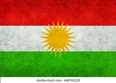 Flag of Kurdistan with vintage distressed textures