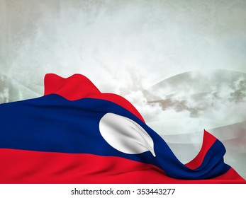 Flag of Laos moved by the wind, leaving a useful space over abstract waves