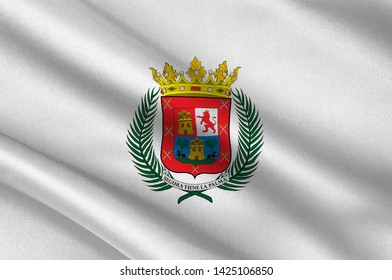 Flag of Las Palmas de Gran Canaria is a city and capital of Gran Canaria island, in the Canary Islands, on the Atlantic Ocean. 3d illustration