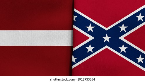 Flag of Latvia and Confederate - 3D illustration. Two Flag Together - Fabric Texture