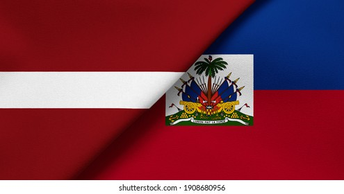 Flag of Latvia and Haiti - 3D illustration. Two Flag Together - Fabric Texture