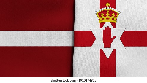 Flag of Latvia and Northern Ireland - 3D illustration. Two Flag Together - Fabric Texture