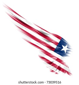 The flag of Liberia on Abstract wing and white background
