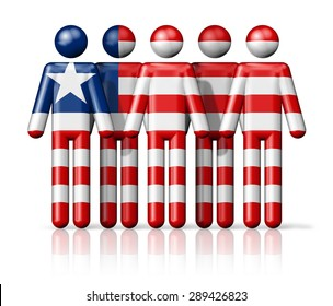 Flag of Liberia on stick figure - national and social community symbol 3D icon