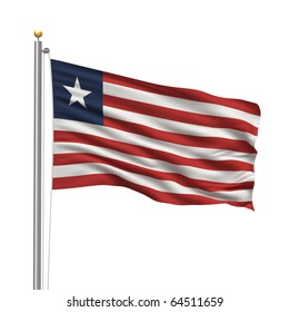 Flag of Liberia with flag pole waving in the wind over white background