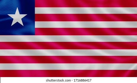Flag of Liberia. Realistic waving flag 3D render illustration with highly detailed fabric texture.