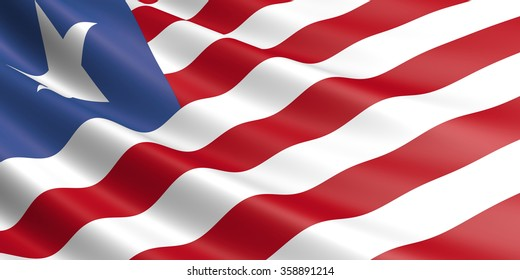 Flag of Liberia waving in the wind.