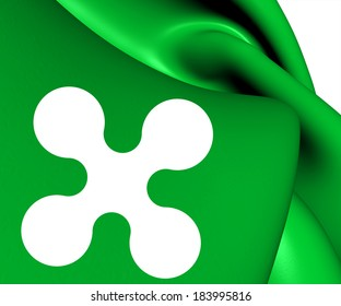 Flag of Lombardy, Italy. Close Up.