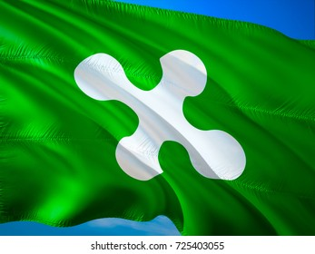 Flag of Lombardy. Republic of Lombardy flag waving in the wind. Lombardia Italy 3D rendering flag. Republic of Lombardy,Lombardians. referendum Independence autonomic lombardia