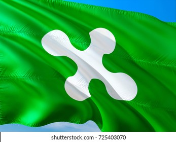 flag of Lombardy. Republic of Lombardy flag waving in the wind. Lombardia Italy 3D rendering. Republic of Lombardy,Lombardians. lombardia italy Independence referendum autonomia concept