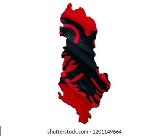 Flag Map of Albania. 3D rendering Albania map and flag. The national symbol of Albania. Albanian National waving flag colorful concept 3D pattern background download HD. Albanian flag map background