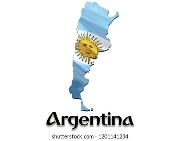 Flag Map of Argentina. 3D rendering Argentina map and flag. The national symbol of Argentina. Argentinian flag map background image download HD. Argentinian National waving flag colorful concept 3D