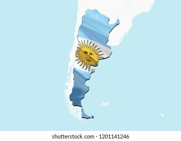 Flag Map of Argentina. 3D rendering Argentina map and flag. The national symbol of Argentina. Argentinian flag on South America background. National Argentinian flag on South America map 3D pattern