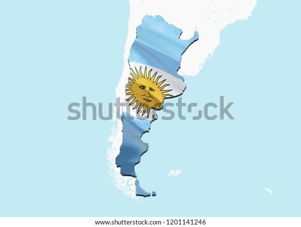 Flag Map Argentina 3d Rendering Argentina Stockillustration ...