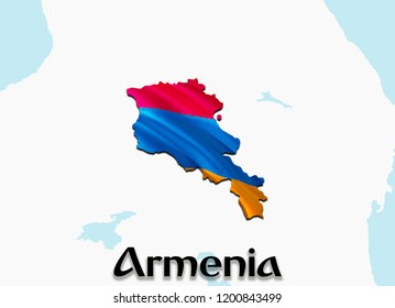 Flag Map of Armenia. 3D rendering Armenia map and flag. The national symbol of Armenia. Armenian flag on Europe background. National Armenian flag on Europe map 3D pattern download HD background