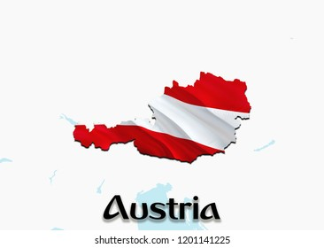 Flag Map of Austria. 3D rendering Austria map and flag. The national symbol of Austria. Austrian flag on Europe background. National Austrian flag on Europe map 3D pattern download HD background