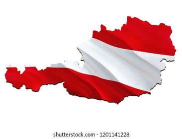 Flag Map of Austria. 3D rendering Austria map and flag. The national symbol of Austria. Austrian flag map background image download HD. Austrian National waving flag colorful concept 3D pattern