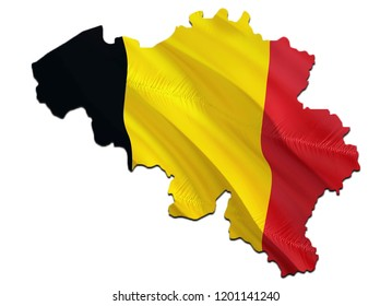 Flag Map of Belgium. 3D rendering Belgium map and flag. The national symbol of Belgium. Belgian flag map background image download HD. Belgian National waving flag colorful concept 3D pattern