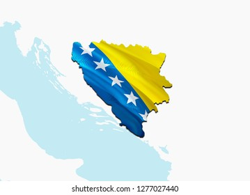 Flag Map of Bosnia and Herzegovina. 3D rendering Bosnia and Herzegovina map and flag. The national symbol of Bosnia and Herzegovina. National waving flag colorful concept 3D pattern background HD