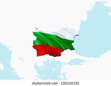 Flag Map of Bulgaria. 3D rendering Bulgaria map and flag on Europe map. The national symbol of Bulgaria. Bulgarian flag map background image download HD. Bulgarian  National waving flag colorful