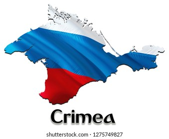 Flag Map of Crimea. 3D rendering Russia Crimea map and flag. The national symbol of Crimea. National waving Russian flag colorful concept 3D pattern background download HD