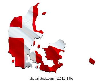 Flag Map of Denmark. 3D rendering Denmark map and flag. The national symbol of Denmark. Danish flag map background image download HD. Danish National waving flag colorful concept 3D pattern background