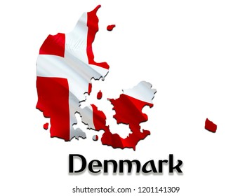Flag Map of Denmark. 3D rendering Denmark map and flag. The national symbol of Denmark. Danish flag map background image download HD. Danish National waving flag colorful concept 3D pattern background
