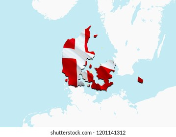 Flag Map of Denmark. 3D rendering Denmark map and flag. The national symbol of Denmark. Danish flag on Europe background. National Danish flag on Europe map 3D pattern download HD background