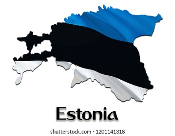 Flag Map of Estonia. 3D rendering Estonia map and flag. The national symbol of Estonia. National waving flag colorful concept 3D pattern background download HD
